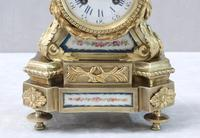 French Napoleon III Bronze Gilt and Sevre Panel Mantel Clock (5 of 7)