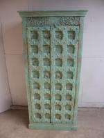 Handmade Indian Mango & Teak Large Painted Light Green 2 Door Storage Cupboard (4 of 11)