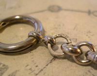 Antique Pocket Watch Chain 1910 Art Nouveau Silver Chrome & Green Glass Albert (8 of 12)