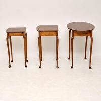 Antique Burr Walnut Oval Nest of Tables (4 of 8)