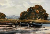 Edward Elliot (1850-1916) Superb Vintage Fishing Estuary Landscape Oil Painting (9 of 12)