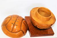 Unusual French Carved Wood Football Lidded Box (3 of 7)