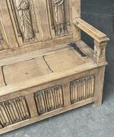 French Gothic Oak Hall Bench (8 of 8)