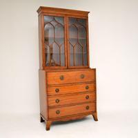 Antique Inlaid Mahogany Secretaire Bureau Bookcase (4 of 11)