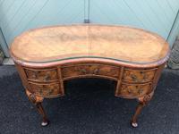 Antique Walnut & Burr Walnut Kidney Shaped Desk (2 of 13)
