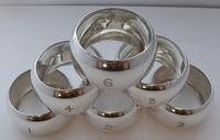 Boxed Set 6 1904 Hallmarked Solid Silver Napkin Rings Serviette Ring (5 of 9)