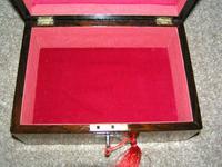 Antique Victorian Walnut Jewellery / Trinket Box, Mop, working lock & key (3 of 9)