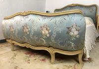 Vintage French Demi Corbeille Double Bed Frame Satin Floral Fabric in Blue / Grey