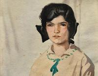 Original Antique Watercolour Portrait Painting of a Girl Guide c.1919 (4 of 9)