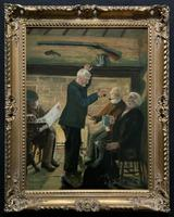 Large Fabulous 20thc Vintage Group Portrait Oil Painting Of 3 Gents In An Inn
