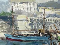 Dutch Oil Painting Fishing Harbour Channel Coast Signed Bernhard Laarhoven (25 of 34)