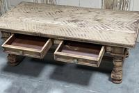 Rustic French Bleached Oak Coffee Table with 2 Drawers (10 of 19)