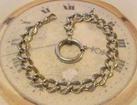 Antique German Pocket Watch Chain 1920s Ornate Silver Nickel Fancy Albert (3 of 11)