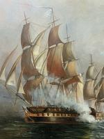 Large Fine Marine Oil Painting Napoleonic French Sea Battle Trafalgar Ships Off Coast (3 of 13)