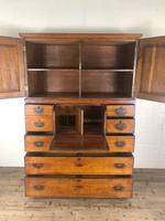 Antique 19th Century Oak Campaign Chest with Cupboard (4 of 17)