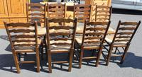 1940's Set of 8 Oak Ladder Back Dining Chairs with Rush Seats (3 of 3)