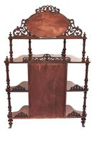 Victorian Walnut 4 Tier Whatnot with Centre Mirrored Cupboard (4 of 5)