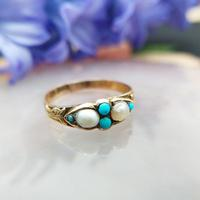 Antique Victorian 15ct Gold Turquoise & Pearl Ring (8 of 9)