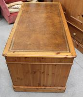 1960's Large Ducal Pine Pedestal Desk with Brown Leather inset on Top (4 of 5)