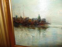 Edwardian oil painting. Harbour scene  1909 (4 of 6)