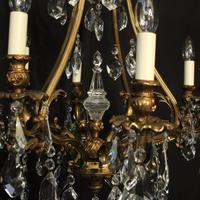 Italian Gilded Bronze & Crystal 8 Light Chandelier (7 of 10)