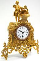 Superb Timepiece Mantle Clock -  Antique 8 Day French Poet Figural Ormolu Mantel Clock (4 of 11)