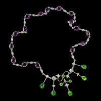 Antique Suffragette Paste Riviere Necklace Silver c.1910 (4 of 5)