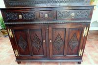 Country Oak Marquetry Inlaid Court Cupboard 1770 (3 of 10)
