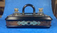 Victorian Brassbound Walnut Inkstand (4 of 16)