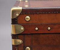 Pair of 20th Century Leather Bound ex Army Trunks in Excellent Condition (11 of 11)