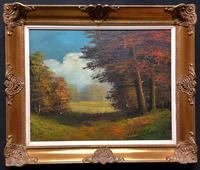 Immaculate Large Original Vintage Belgian Woodland Landscape Oil painting