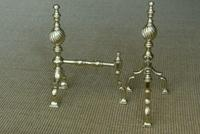 High Quality Pair of Victorian Brass Fire Dogs Fire Iron Rest Andirons c.1880 (3 of 6)