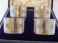 Walker & Hall Set 4 Art Deco Hallmarked Solid Silver Napkin Rings Serviette Ring (10 of 10)