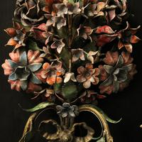 French Pair of Toleware Floral Wall Lights (8 of 10)
