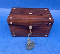 William IV Rosewood Twin Section Tea Caddy with Mother of Pearl Inlay (12 of 14)