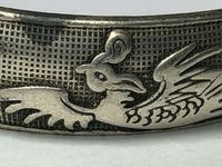 Pair Chinese Republic Silver Plate Bracelet Bangles Dragons Fenghuang Phoenix (11 of 12)