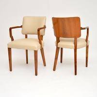 Pair of Vintage Art Deco Walnut Armchairs (4 of 9)
