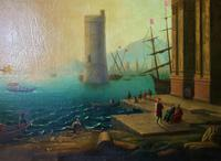 After Claude Lorrain Huge Superb 19th Century Venice Seascape Oil Painting (19 of 22)