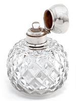 Antique Globe Shaped Cut Glass and Silver Lidded Perfume Bottle (4 of 4)