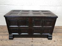 Antique Rare 17th Century Oak Coffer with Block Paw Feet (M-716) (14 of 16)