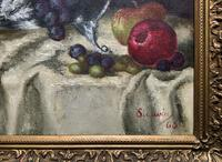 Fabulous 1960 Vintage Antique Still Life Of Fruit Study Oil On Canvas Painting (4 of 12)