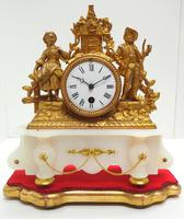 Stunning Complete French Mantel Clock Under Dome with Base Figural Mantle Clock. (10 of 10)