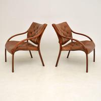 Pair of Scandinavian Bentwood & Leather Vintage Armchairs (3 of 14)