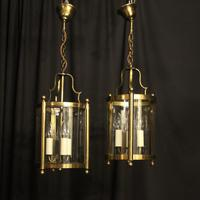 French Gilded Pair of Convex Triple Light Lanterns c.1930 (2 of 10)