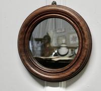 19th Century Small Round Mahogany Wall Mirror (4 of 4)