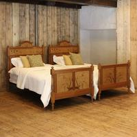 Art Nouveau Matching Pair of Twin Single French Beds