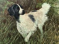 """20th Century Oil Painting """"Hunting Setter Dog & Pheasants in Flight"""" Signed Leiford (7 of 17)"""