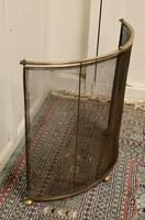 Victorian Arts & Crafts Brass Curved Fire Guard, Spark Screen (3 of 5)
