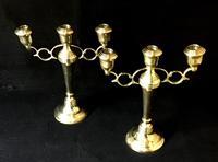 Pair of Arts & Crafts Style Brass Three Branch Candelabra (4 of 4)