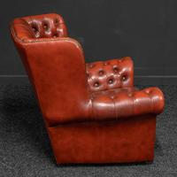 Burgundy Leather Chesterfield Wing-back Armchair (5 of 10)